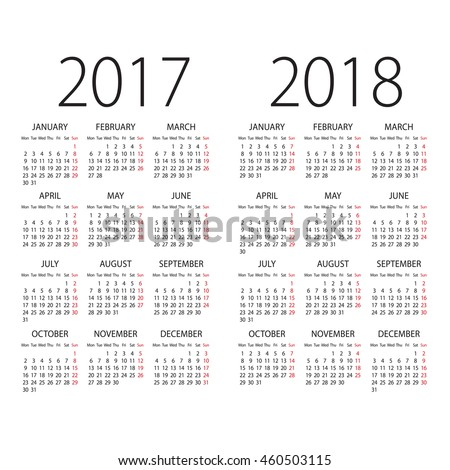 Abstract 2017 and 2018 vector calendar with Monday the first day of week
