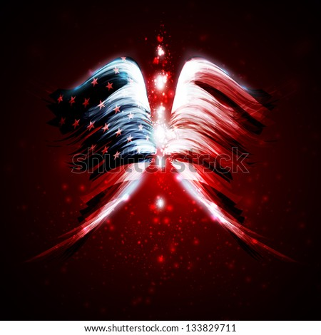 Abstract angel wings with american flag on shiny space background - stock vector