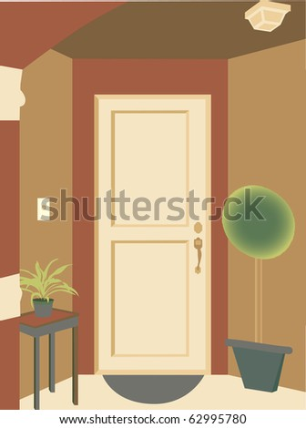 Abstract angled doorway entrance into building with plants and mat - stock vector