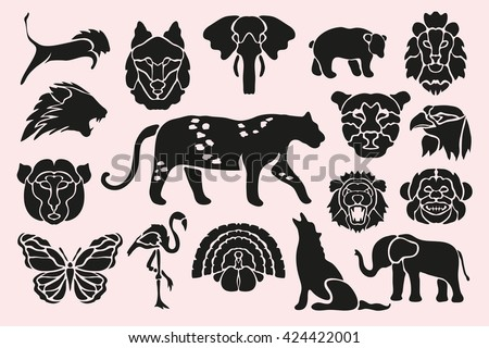 Abstract animal, birds and insects symbols set, design elements. Can be used for invitations, greeting cards, scrapbooking, print, labels, emblems, manufacturing. Animal theme - stock vector