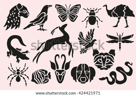 Abstract animal, insects, birds and fishes symbols set, design elements. Can be used for invitations, greeting cards, scrapbooking, print, labels, emblems, manufacturing. Animal theme - stock vector