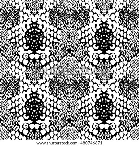 Abstract animal skin background, vector with black and white
