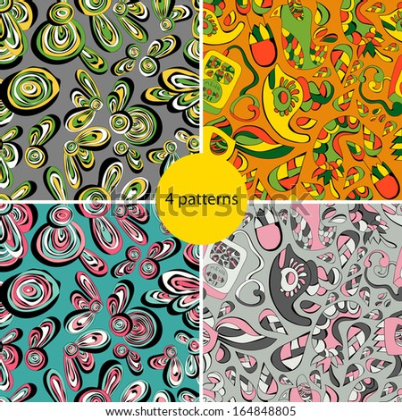 Abstract animals  colorful set of four bright new  seamless patterns with flowers,dolphins. Pattern can be used for wallpaper. Vector backgrounds.Vector backgrounds with bright  shades.