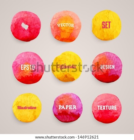 Abstract aquarelle background set. Grunge background. Vintage paper texture. Watercolor vector background for retro design. Hand drawn watercolour illustration. Abstract vector colorful shapes. - stock vector