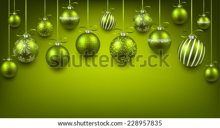 Abstract arc background with green Christmas balls. Vector illustration.  - stock vector