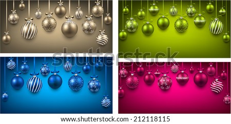 Abstract arc colorful backgrounds with christmas balls. Vector illustration.  - stock vector