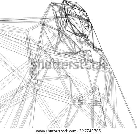 Abstract architectural background. Futuristic building - stock vector