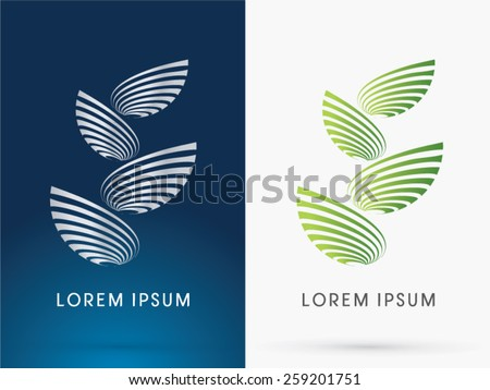 Abstract Architecture, Building ,Tower, designed using green line like a tree or leaf shape ,logo, symbol, icon, graphic, vector. - stock vector