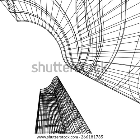 Abstract architecture. City building background - stock vector