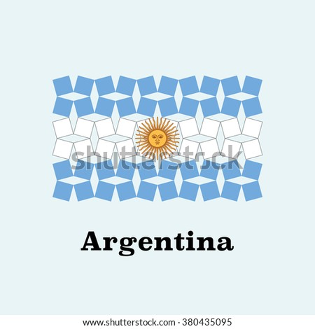 Abstract Argentina Flag Rotating Squares  - stock vector