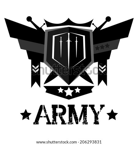 Abstract army emblem design - stock vector