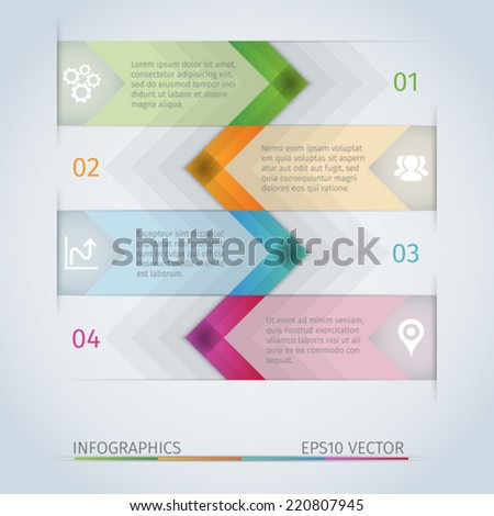 Abstract arrow infographics template with icons - stock vector