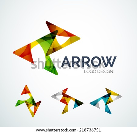 Abstract arrow logo design made of color pieces - various geometric shapes - stock vector