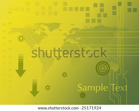 abstract arrow on green yellow background with world map