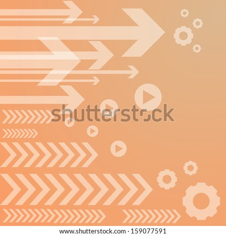 Abstract arrow on orange background. vector illustration - stock vector