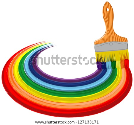 Abstract art brush with rainbow line. Vector background - stock vector