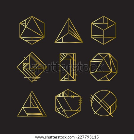 Sacred geometry platonic solids six elements stock vector - Art deco design elements ...