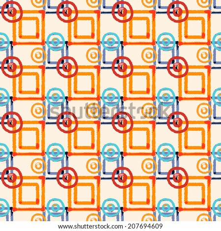 Abstract art geometric distressed seamless pattern with squares and circles. Repeating background texture. Fabric design. Wallpaper - vector