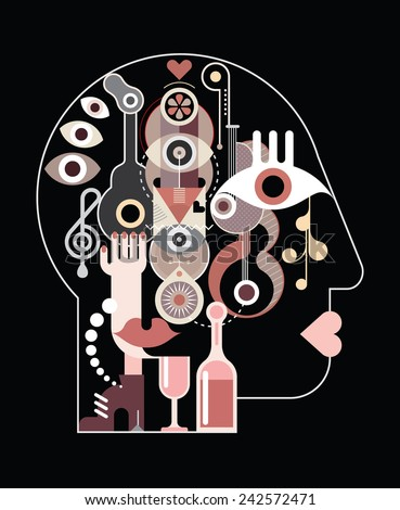 Abstract art head - vector illustration on black background.  Vector EPS10 and High resolution JPG files included. - stock vector