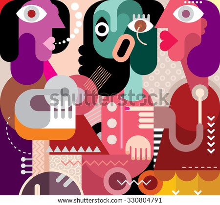Abstract art portrait of three beautiful women. Graphic design vector illustration. Crying woman.  - stock vector