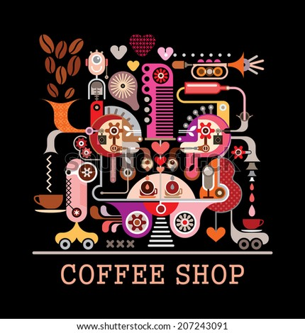 """Abstract art vector composition on black background. Graphic design with text """"Coffee Shop"""". - stock vector"""