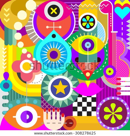 Abstract art vector illustration. Decorative collage of various objects and shapes. - stock vector