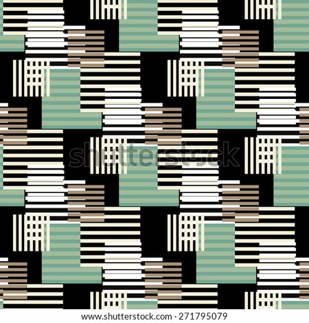 Abstract art vintage stripped seamless pattern. Repeating background texture. Lines, stripes, circles. Cloth design. Wallpaper, wrapping - stock vector