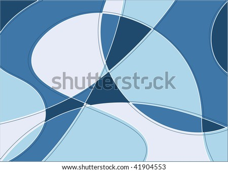 Abstract art winter background in stained-glass window style and cold colors - stock vector