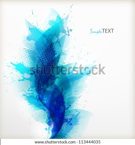 Abstract artistic Background  with floral element and blue  blots. Vector design.ink splattered background - stock vector