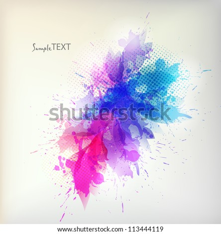 Abstract artistic Background  with floral element and colorful  blots.  ink splattered background - stock vector