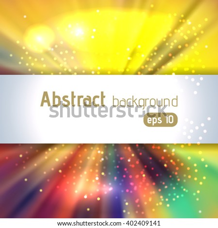 Abstract artistic background with place for text. Color rays of light. Original sparkle design. Yellow, red, blue, green colors.  - stock vector