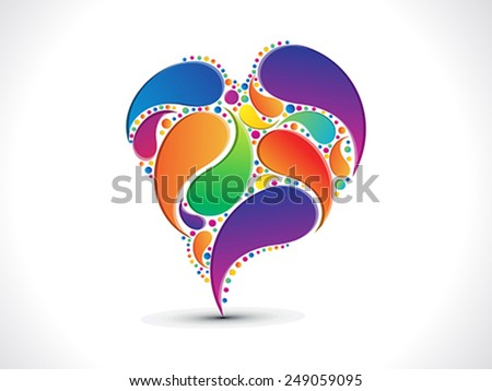 abstract artistic colorful floral heart background vector illustration - stock vector