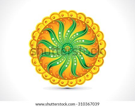abstract artistic colorful rangoli circle vector illustration - stock vector
