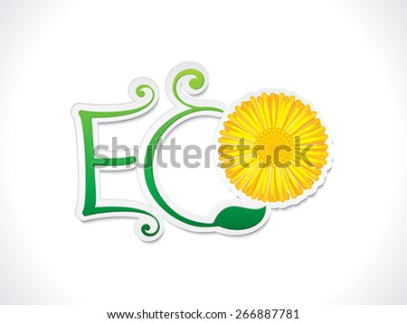 abstract artistic eco text with flower vector illustration - stock vector