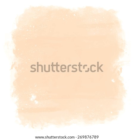 Abstract artistic elegant classic pastel vector watercolor spot hand painted background. Copy text template. Vintage faded colors. Peach or beige shades. Isolated. Grunge texture. Artist collection.  - stock vector