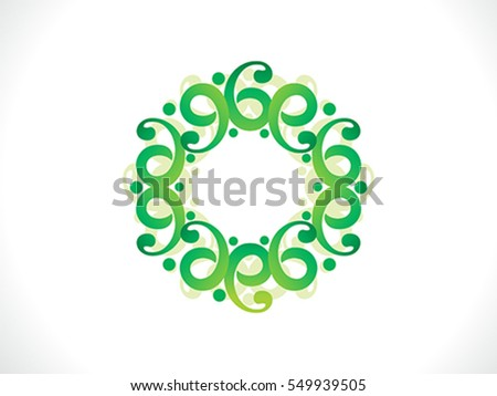 abstract artistic floral green border vector illustration