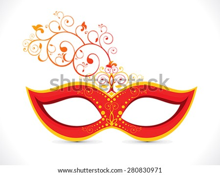 abstract artistic floral red mask vector illustration - stock vector