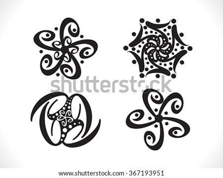 abstract artistic floral shapes vector illustration - stock vector