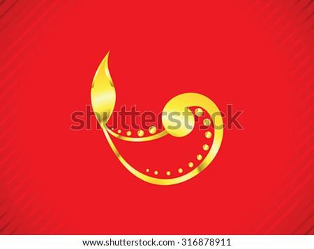 abstract artistic golden diwali vector illustration - stock vector