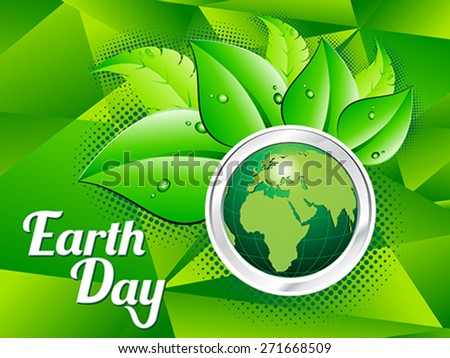 abstract artistic green earth day vector illustration - stock vector