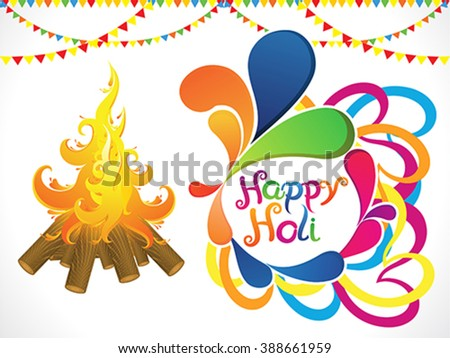 abstract artistic holi with flame vector illustration - stock vector