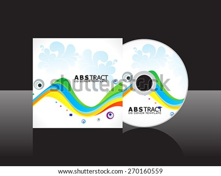 abstract artistic rainbow cd cover template vector illustration - stock vector