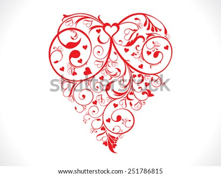 abstract artistic red valentine heart background vector illustration - stock vector