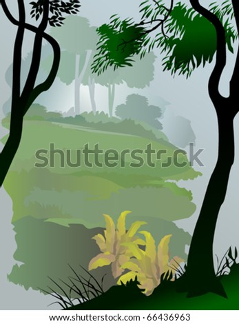 Abstract Asian rain forest view - stock vector