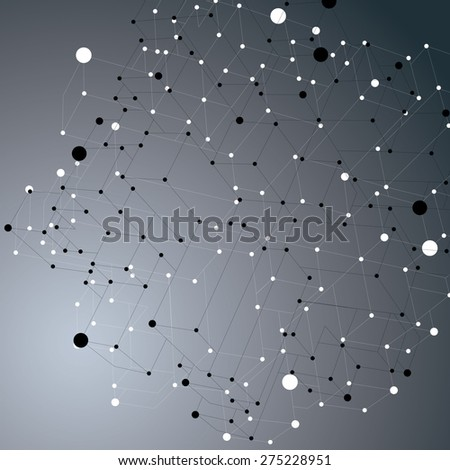 Abstract asymmetric vector monochrome structure with black and white wire mesh, complicated geometric shape. Lace grayscale figure on dark backdrop. - stock vector