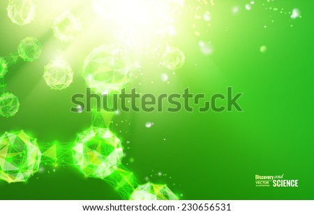 Abstract atom with lines and triangles poligons design. Vector illustration. - stock vector