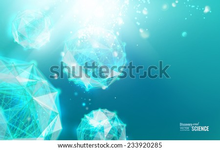 Abstract atom with lines and triangles polygons design. Vector illustration. - stock vector