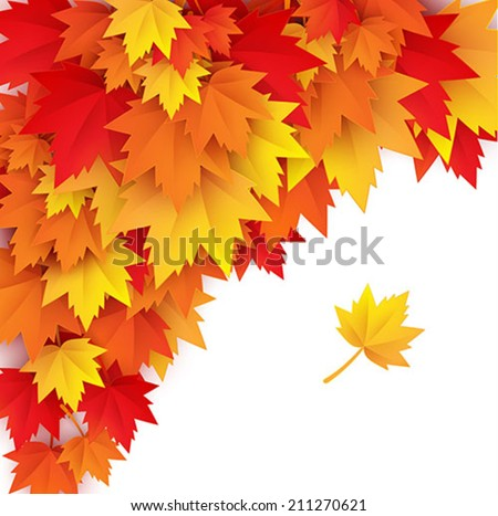 abstract autumn background - vector paper art illustration - stock vector