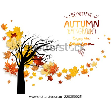 Abstract autumn background with autumn leaves and silhouette of tree. Copy space. - stock vector