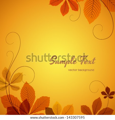 Abstract autumn background with chestnut leaves, EPS10 vector - stock vector